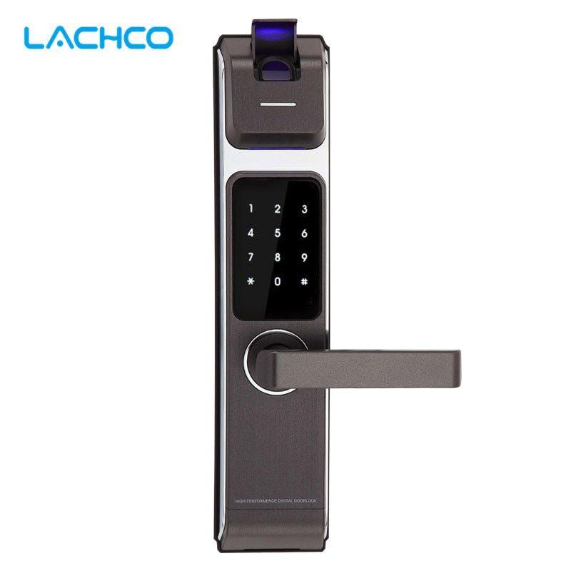 Lachco New Arrival Biometric Smart Door Lock Digital Touch Screen Keyless Fingerprint Password Rfid Card Key 4ways L17014 Free Shipping Mobile Bluetooth D