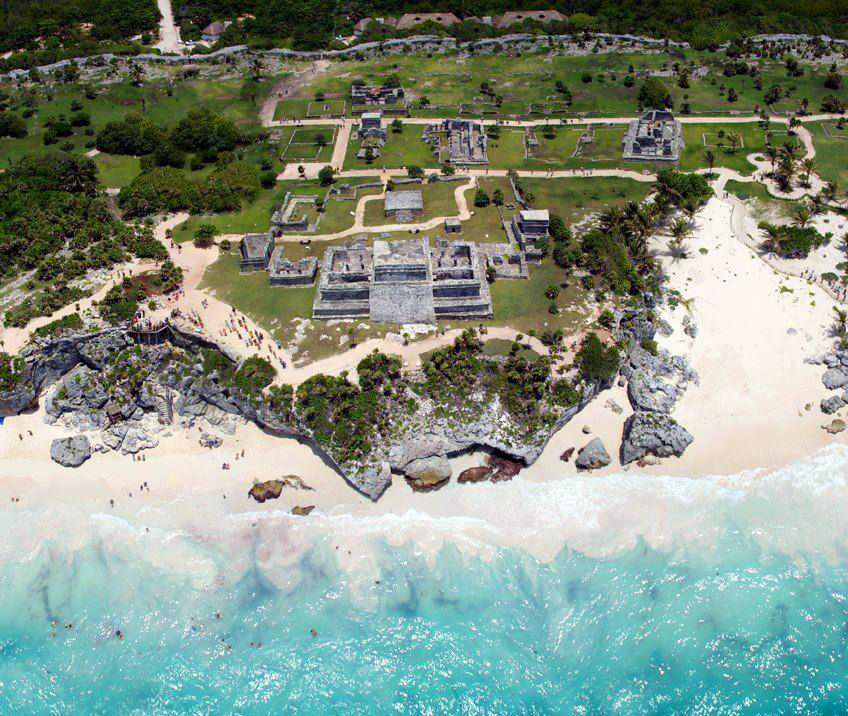 Best Places In Mexico To See Ruins: Bird's-eye View Of The Precolumbian Mayan City Of Tulum