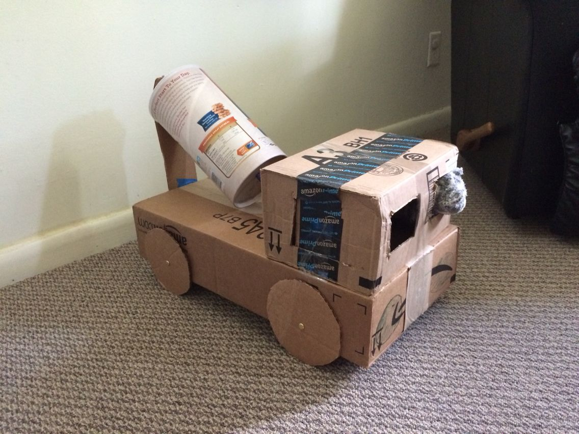 Cardboard And Oats Can Become A Toy Cement Mixer Truck Diy Recycling For Kids Cement Truck