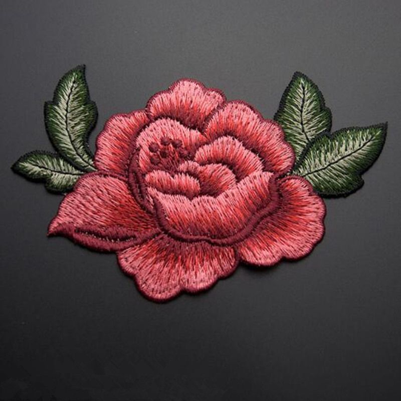 Cm d rose peony flower patch embroidered garment