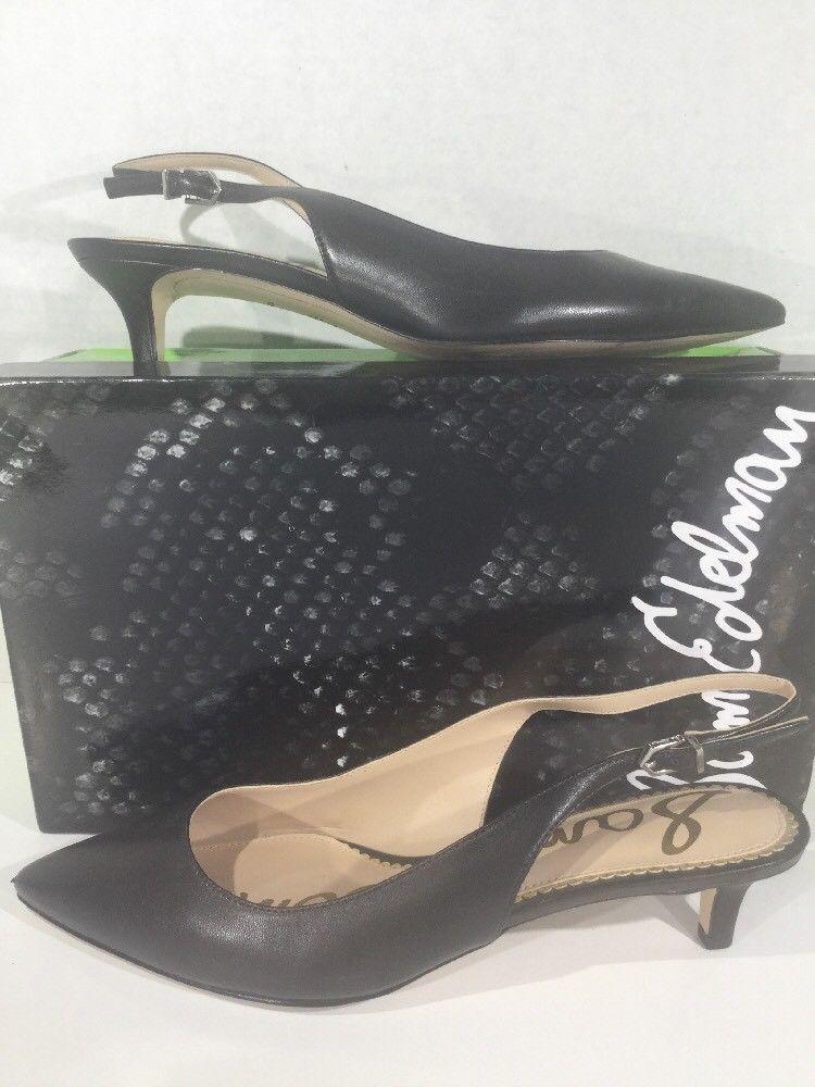 7cc73e2704c 25.24   SAM EDELMAN Ludlow Women Sz 8 Black Leather Slingback Kitten ...