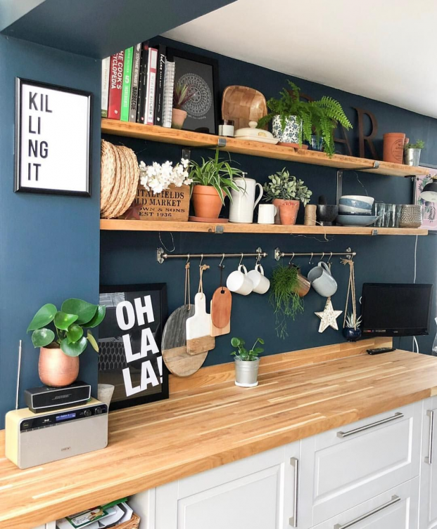 Blue kitchen walls Shelfie #diningroomdecor #dining #room #decor #diy