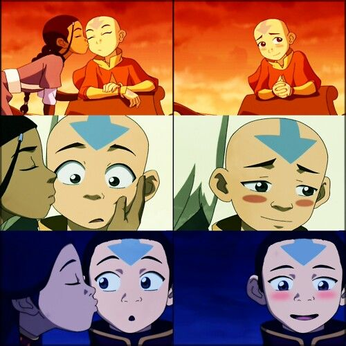Every Time Katara Kisses Aang He Blushes How Sweet With