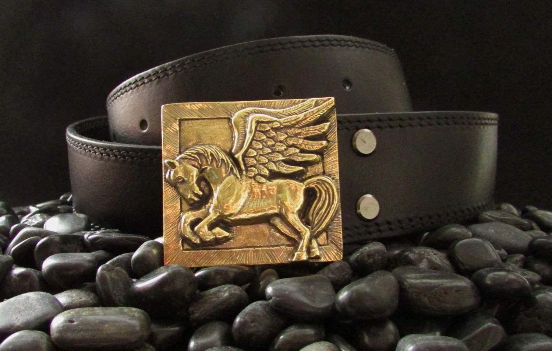 Belt Buckle Pegasus Leather Belt With Casting Brass Buckle Etsy Belt Buckles Brass Buckle Belt