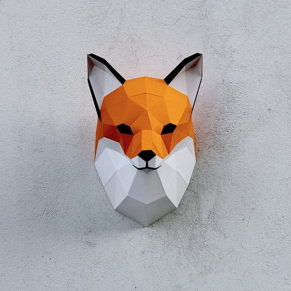 02 papercraft fox head printable digital template for Innendekoration digital