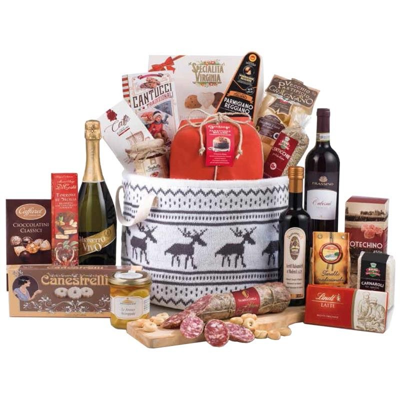 Der Weihnachtskorb, der mit Gourmet und traditionellen ...