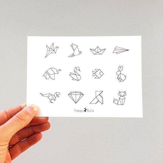les 25 meilleures id es de la cat gorie dessin origami sur pinterest dessin g om trique. Black Bedroom Furniture Sets. Home Design Ideas