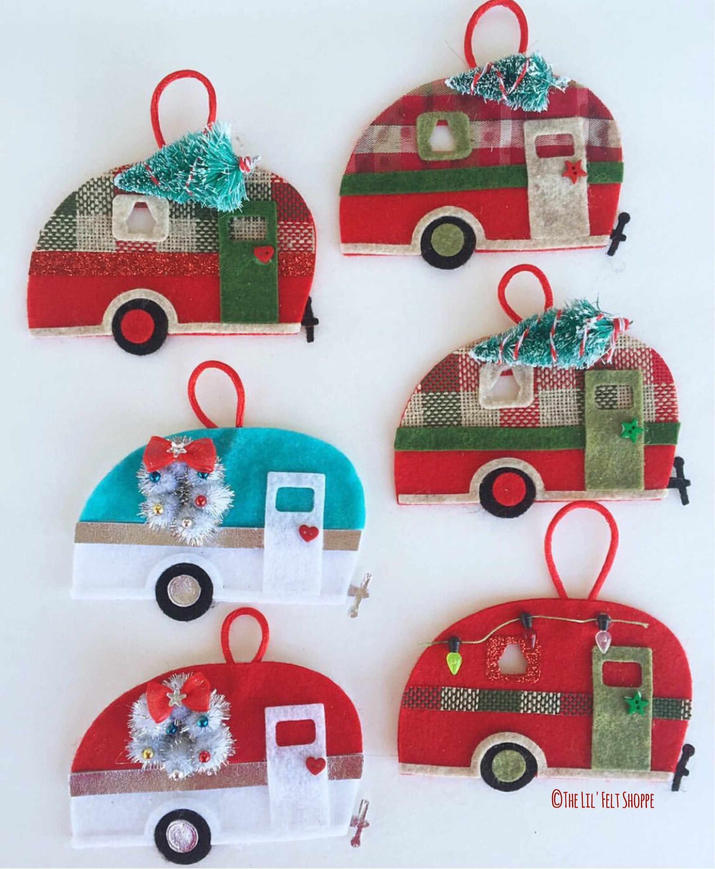 Camper Ornaments, Gift Tag, Wine Tag Felt Christmas Ornamentschristmas Decorationshappy