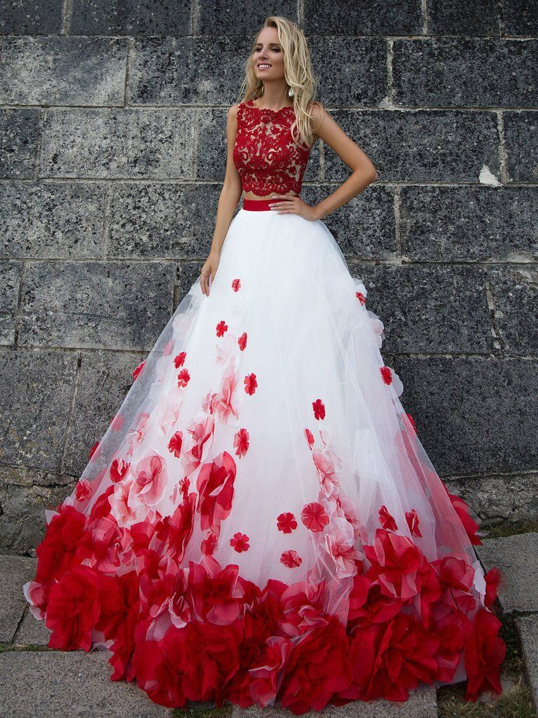 Cheap red and white wedding dresses  Two Pieces Wedding Dresses White and Red Appliques Bridal Gown