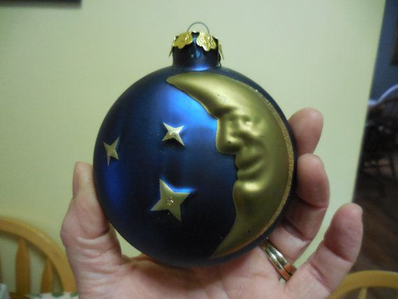 Vintage 1980s to 1990s Blue and Gold Round Glass Ornament Crescent Moon and Glitter Stars Tree Ornament Iridescent Large Celestial