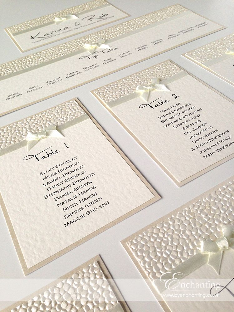 Ivory wedding stationery bespoke design diy table plan ivory wedding stationery bespoke design diy table plan featuring ivory pebble paper bridal white satin ribbon and pretty bow embellishment luxury junglespirit Images