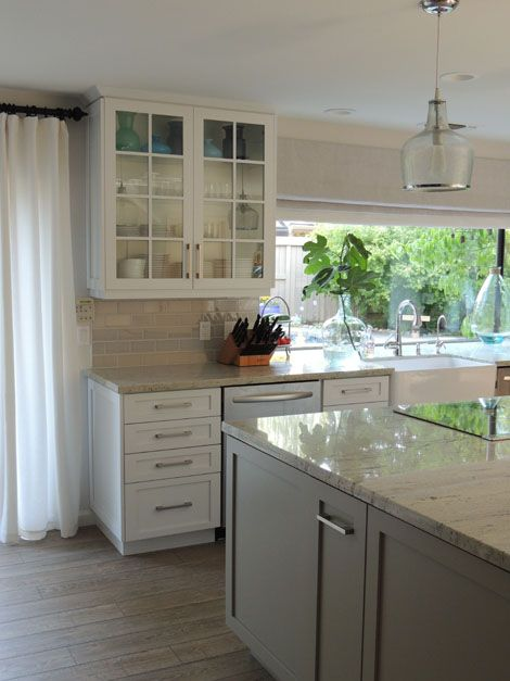 Best Light Granite White Cupboards And Light Grey Backsplash 400 x 300