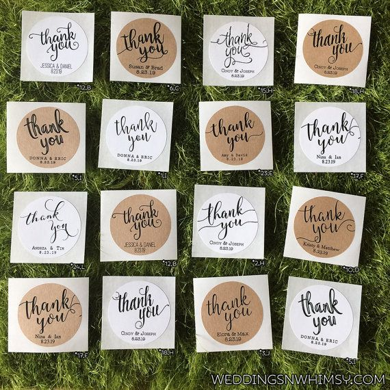 Thank You Labels Wedding Favor Stickers Classic Rustic
