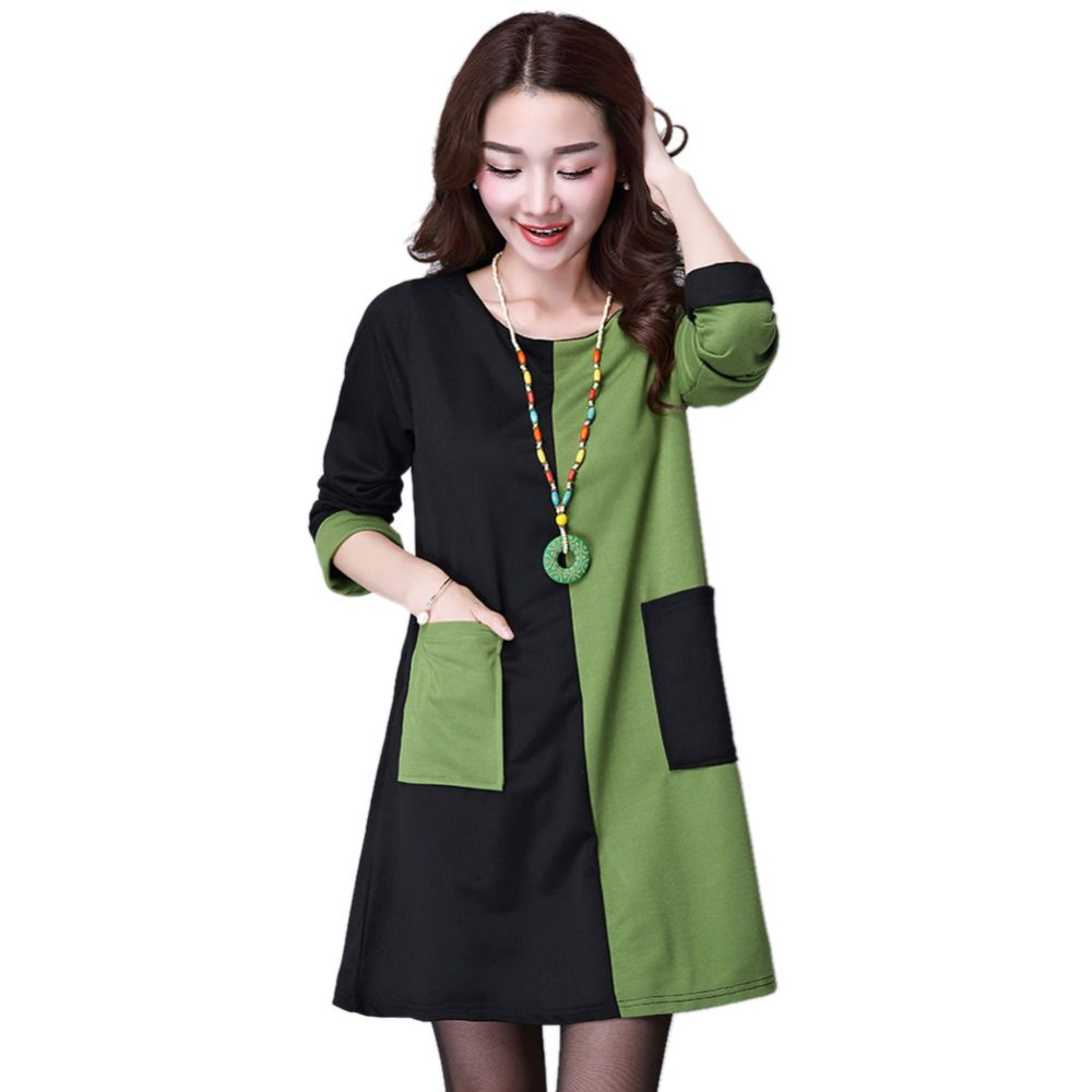 Click to buy ucuc women patchwork dress winter long sleeve round neck