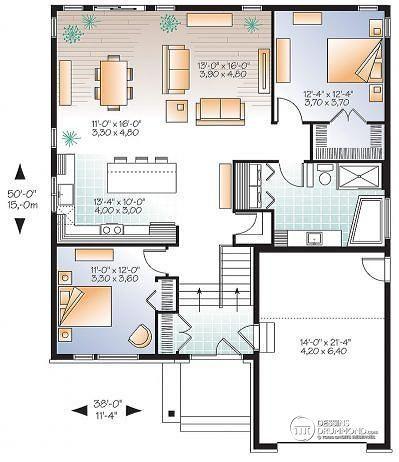 W3281-V1 - Plain-pied moderne rustique (entrée split), garage, 2 - plan de maison en l de plain pied gratuit