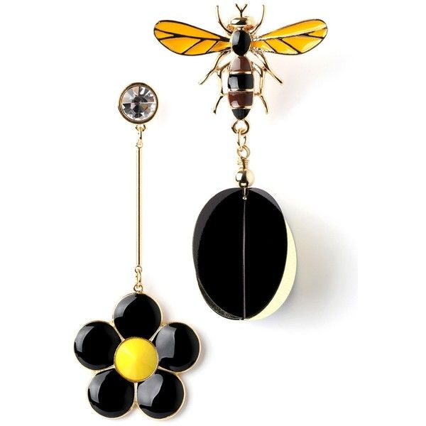 Yellow Flower Bee Earring (265 NOK) ❤ liked on Polyvore featuring jewelry, earrings, accessories, flowers, bumble bee jewelry, blossom jewelry, earring jewelry, flower jewellery and yellow jewelry