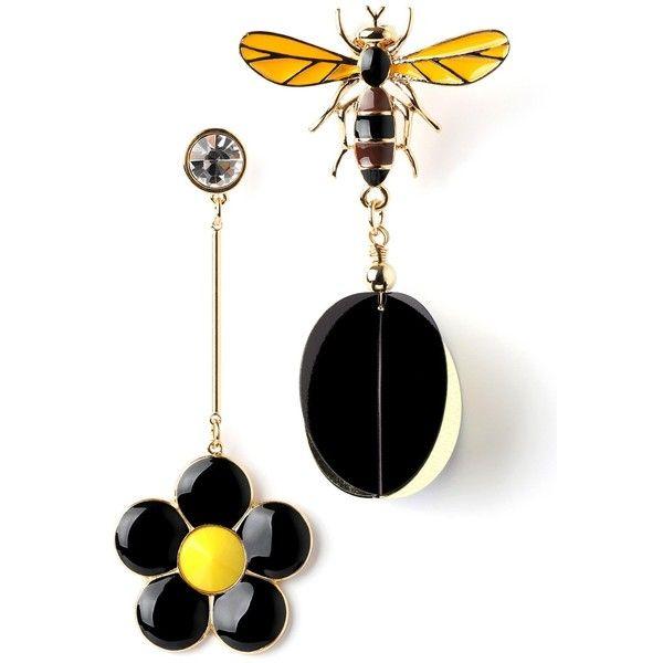 Flower Bee Earring ($28) ❤ liked on Polyvore featuring jewelry, earrings, earrings jewellery, blossom jewelry, flower earrings, bee earrings and flower jewellery