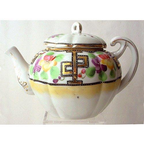 Vintage Hand Painted Porcelain Teapot Japan Melon Shape | AestheticsAndOldLace - Kitchen & Serving on ArtFire