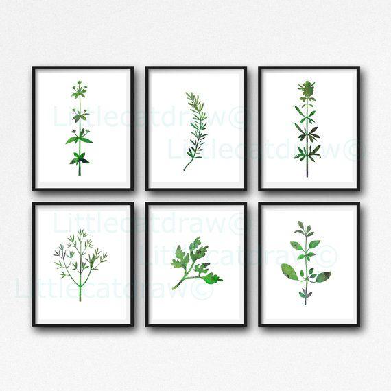 Garden Herb Prints Set of 6 Watercolor Abstract Green Prints Kitchen Wall Art Home Decor Unframed Art Prints