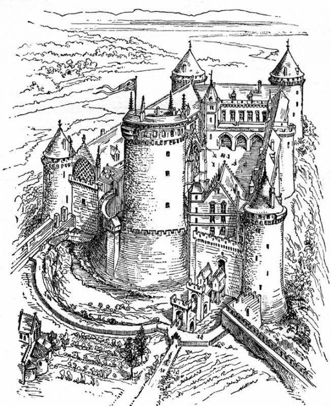 Chateau Fort Pour Colorier Jpeg Malvorlagen Bilder Landschaft Zeichnen