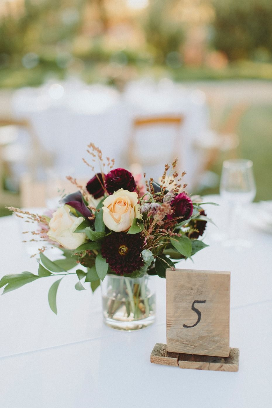 A Modern Chic Outdoor Ranch Wedding In Burgundy And Navy Flower