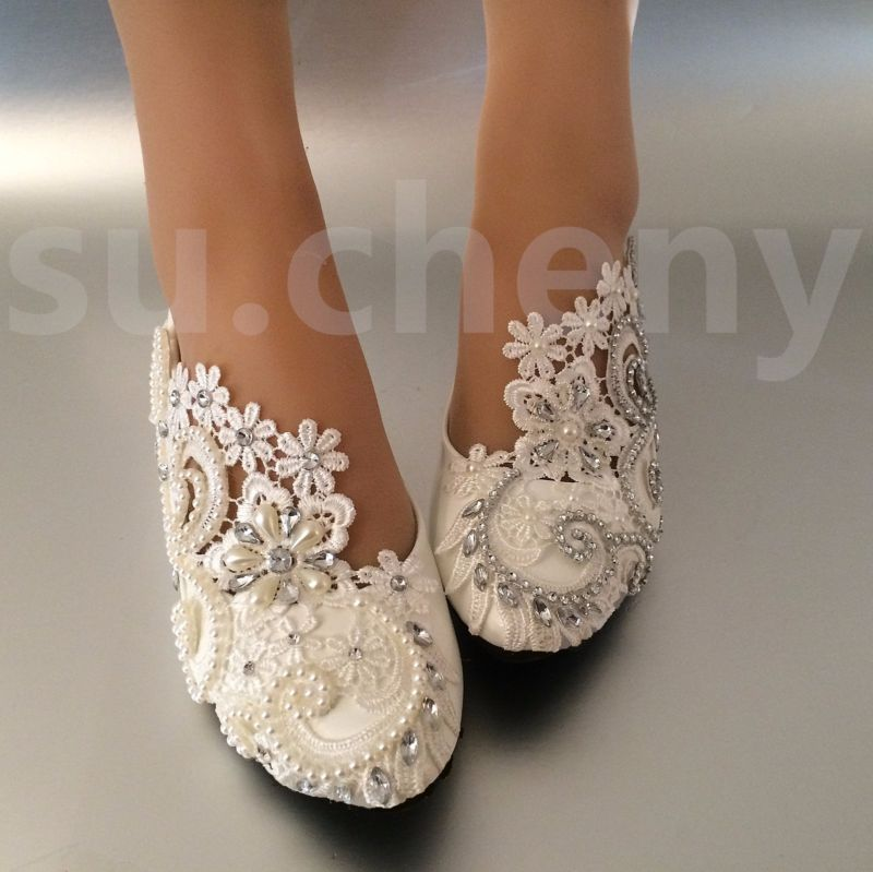 Su Cheny White Ivory Pearls Rhinestones Lace Flat Wedding Shoes Bridal Size 5 13 Ebay Beach Wedding Shoes Comfy Wedding Shoes Wedding Shoes Flats