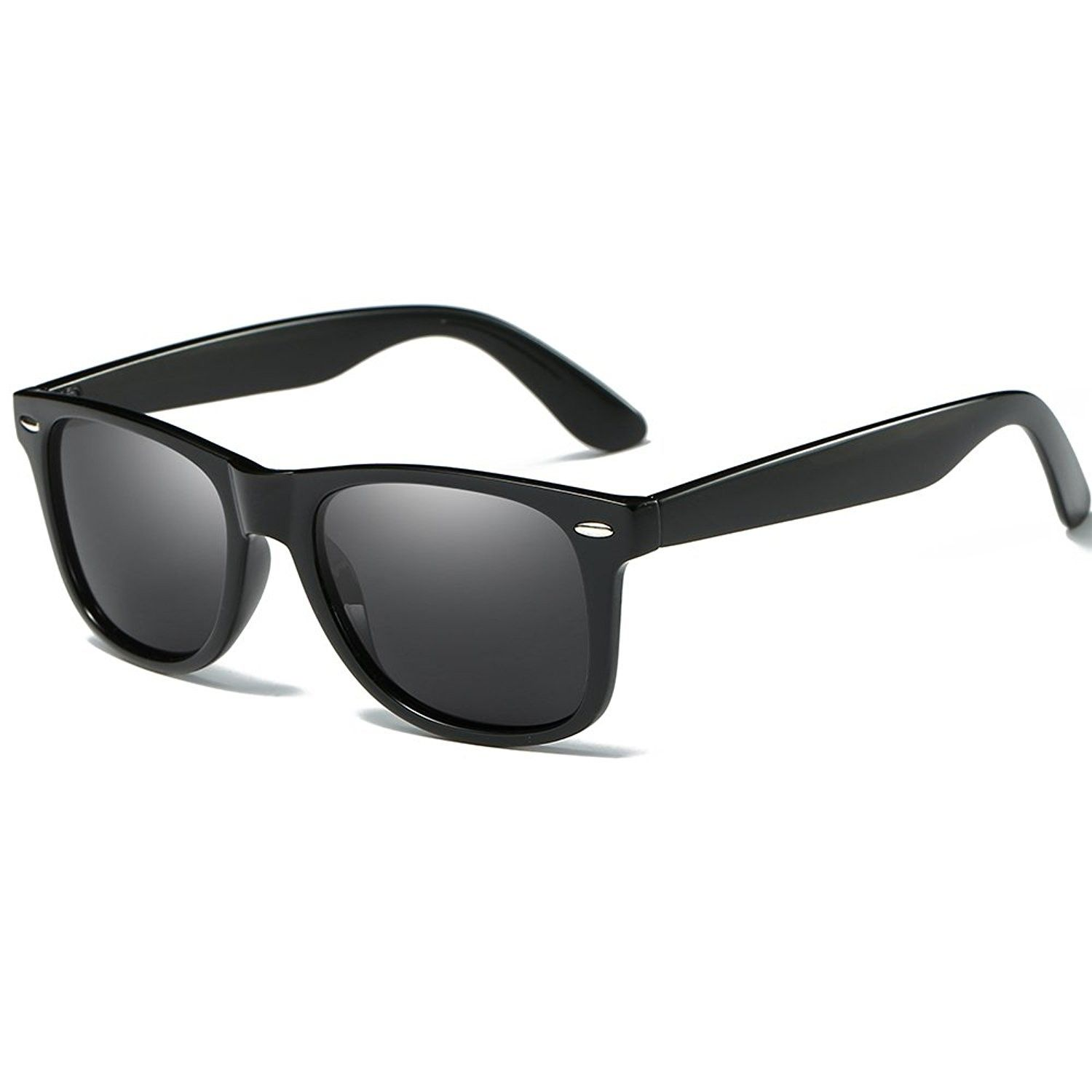838192d06b Polarized Clubmaster Classic Half Frame Semi-Rimless Rimmed Sunglasses -  Black B - CZ185EUE2WX -