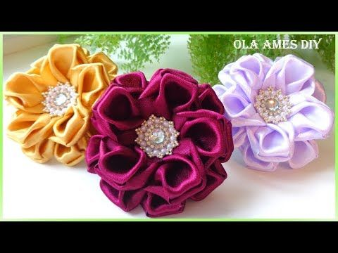 Канзаши/Цветы из атласной ленты/DIY Satin Ribbon Flower/Flor de Fita de setim/Ola ameS DIY - YouTube #ribbonflower