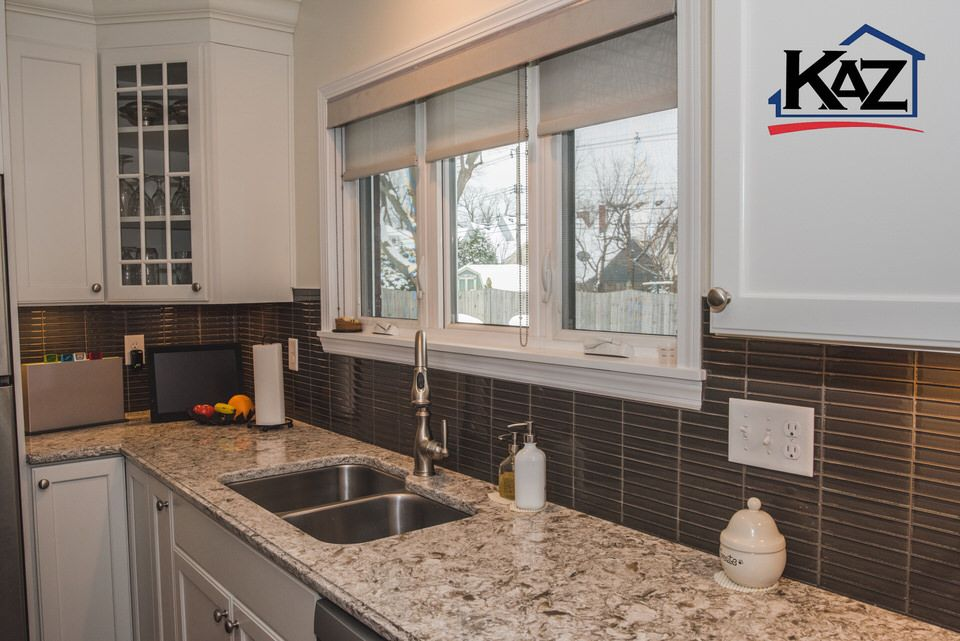Kitchen By The Kaz Companies In Buffalo Ny Haas Cabinets Maple Bistro Cabinet Glass Tile Backsplash Kitchen