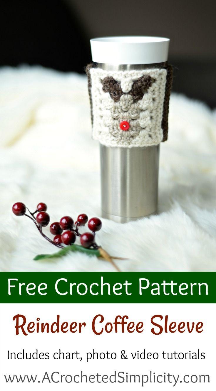 Free Crochet Pattern - Reindeer Coffee Cozy / Sleeve