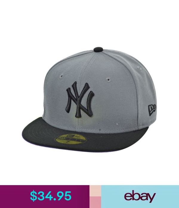New Era New York Yankees 59fifty Men S Fitted Hat Cap Grey Black 10542731 Fitted Hats Hats Black