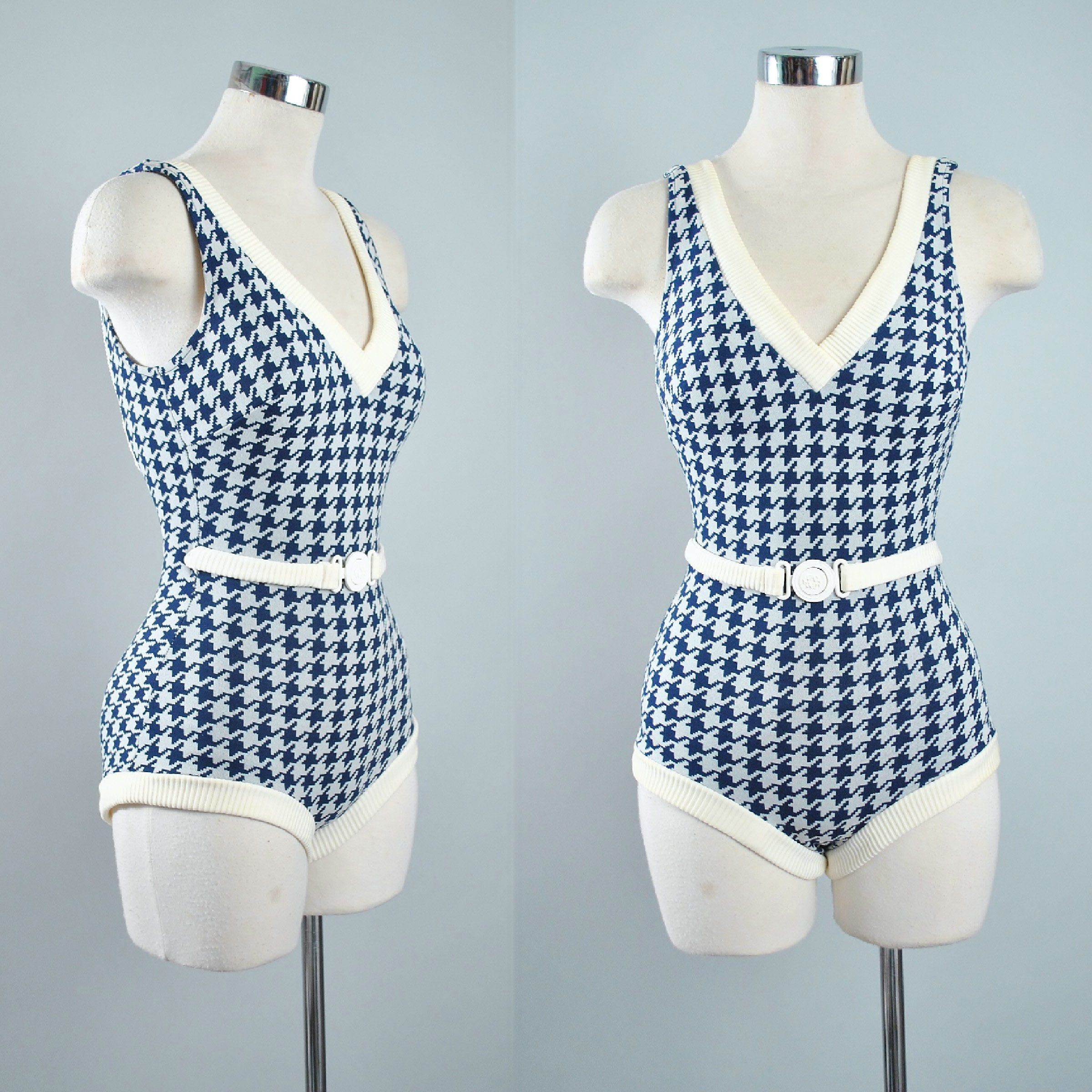 7096d2e26d5 Vintage 60s 70s PLAYSUIT Romper Swimsuit   HOUNDSTOOTH Navy Blue Nautical  Belted Sun Suit Mini Shorts Pinup Beach Swimwear XS Small Medium by ...
