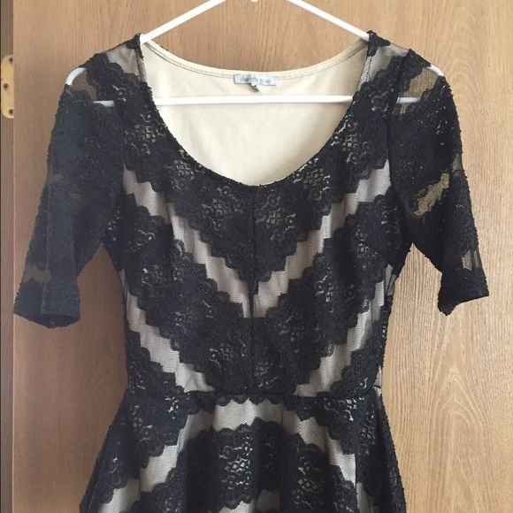 Charlotte Russe lace top Charlotte Russe black lace top with beige underlay Charlotte Russe Tops Blouses