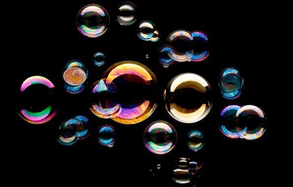 Обои мыльные пузыри, фон, чёрный картинки на рабочий стол ...