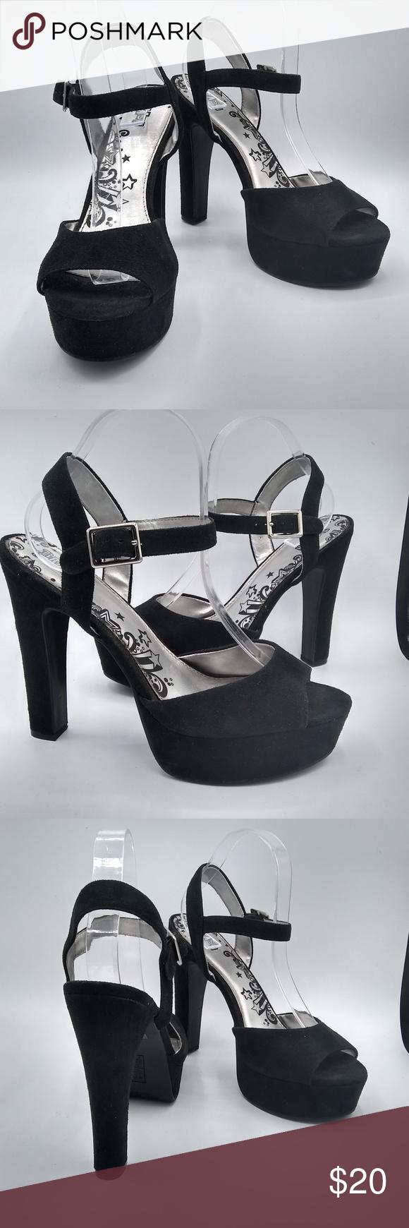 Brash Black Platform Heels Size 10 in