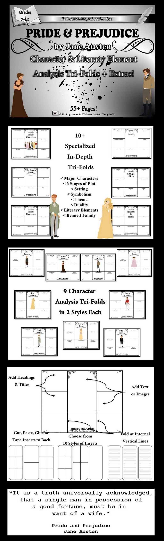 Pride Prejudice By Jane Austen Character Literary Element Analysis Tri Folds Extras Grades 7 12 55 P Pride And Prejudice Jane Austen British Literature