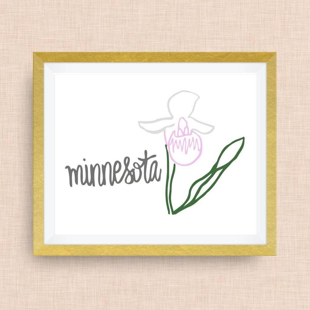 Minnesota Art Print Pink Lady Slipper State Symbol Twin