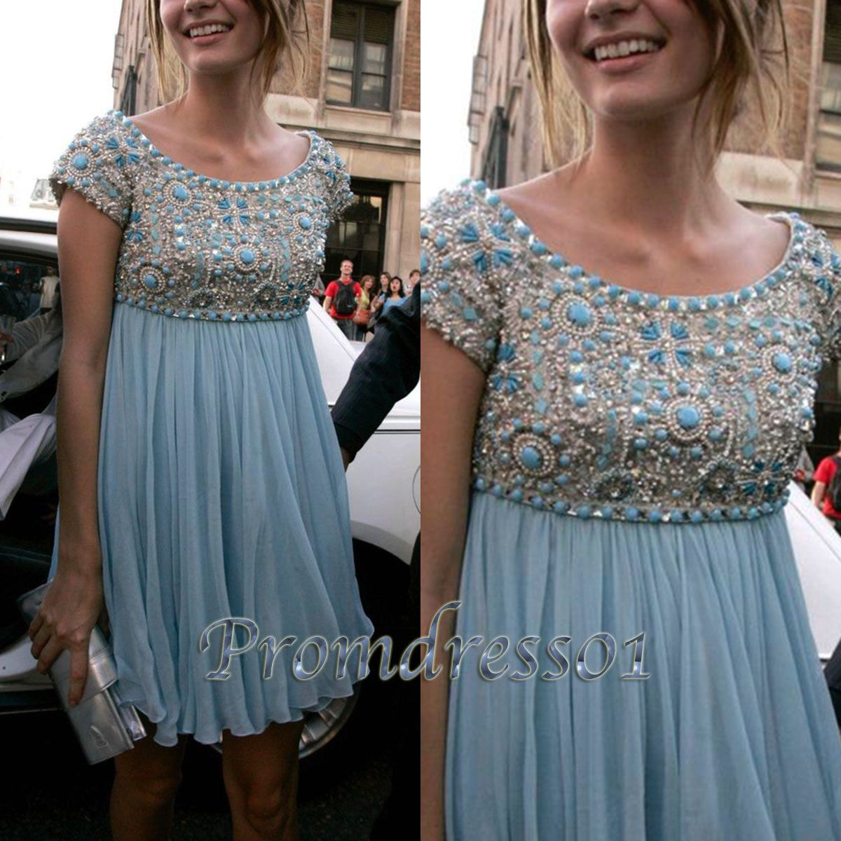 Modest prom dress unique short ball gown cute baby blue