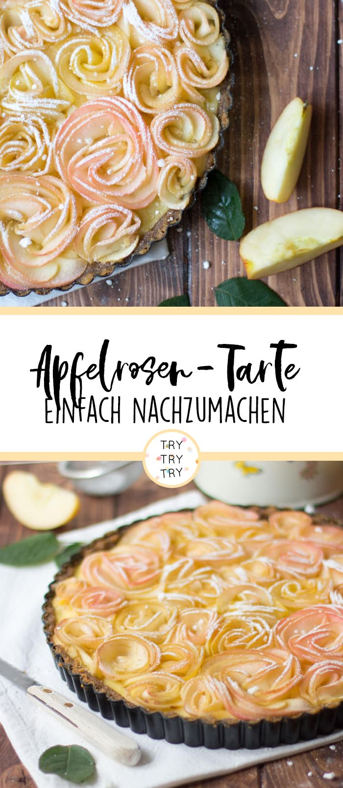 Apfelrosen Tarte #apfelrosenblätterteig