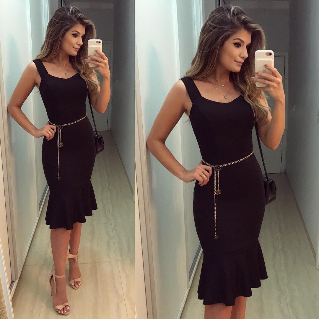 Vestido preto longo instagram
