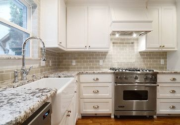 White Shaker Cabinets Antico Bianco Granite Farmhouse Sink Ann Saks Gl Tile Backsplash University Park Remodel