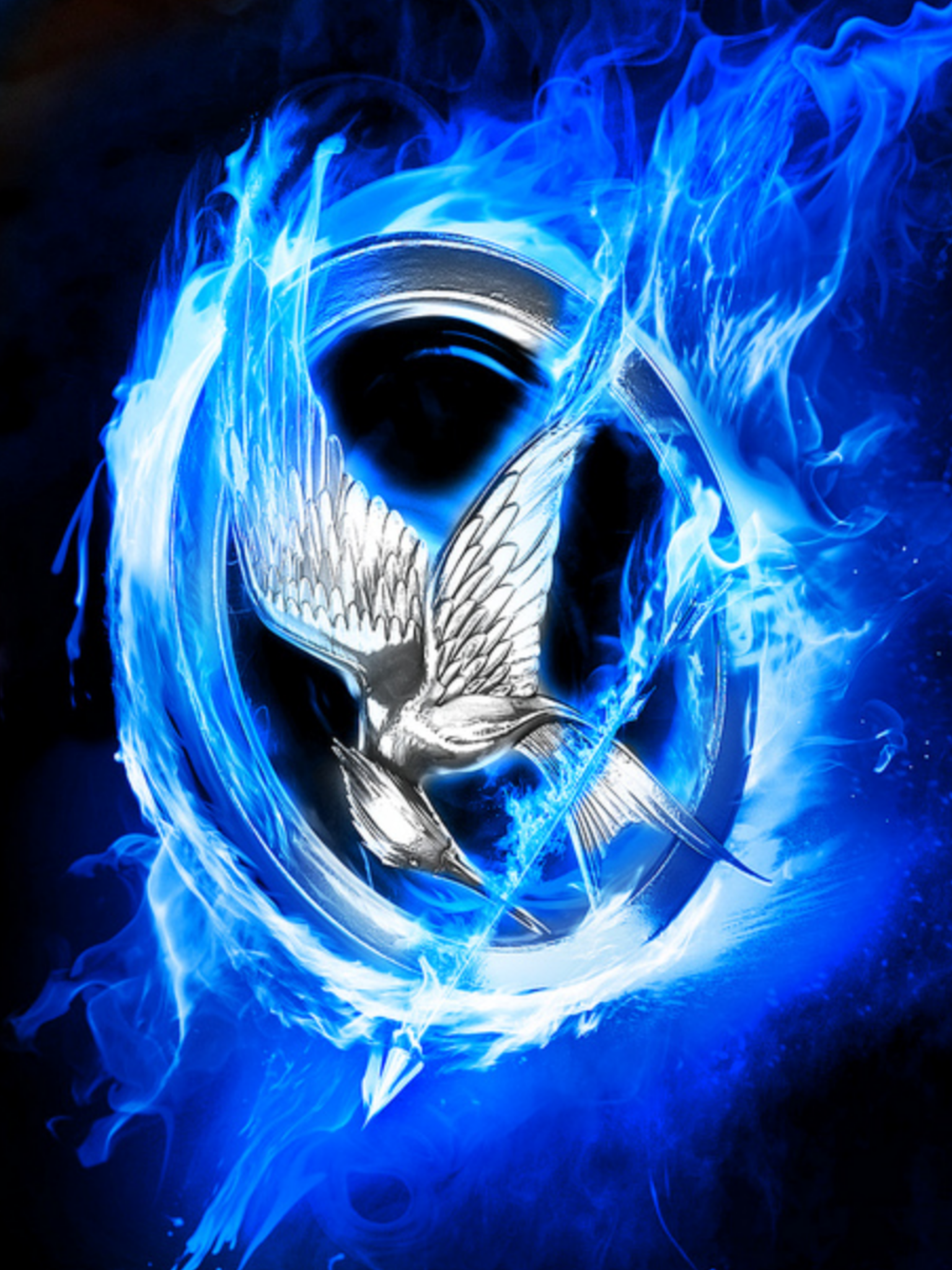 Silver mockingjay pin with blue fire the hunger games silver mockingjay pin with blue fire buycottarizona Gallery