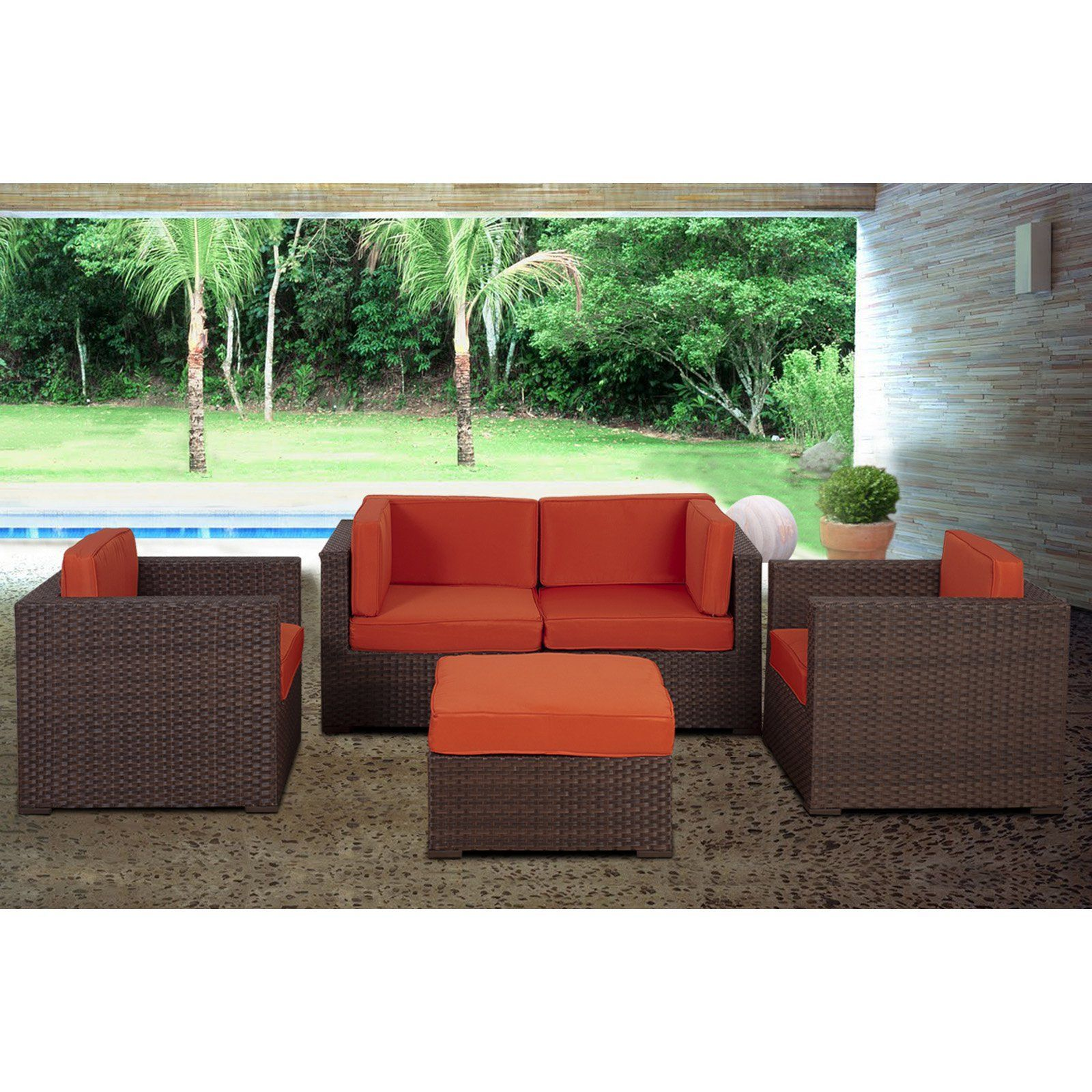 Outdoor Atlantic Westmount 5 Piece Brown Wicker Sectional Set