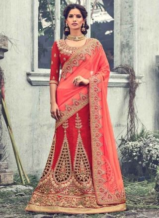 75a0198183 Lovely Tomato Red Embroidery Work Raw Silk Georgette Bridal Lehenga Sarees  http://www