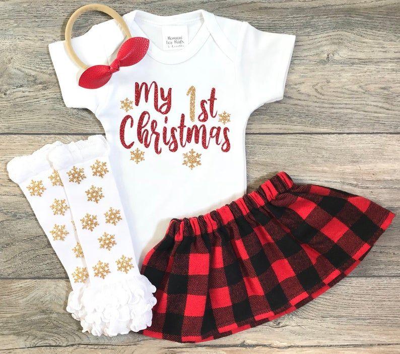 zhushuGG 3Pcs Baby Kleidung Set My 1st Christmas Strampler Kleid M/ädchen Weihnachtsoutfit Baby Kleid T/üt/ü Bodys Strampler Stirnband Beinw/ärmer Schuhe
