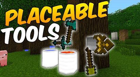 Placeable Tools Mod 1 7 10 9minecraft Net Mod Minecraft 1 Minecraft Mods