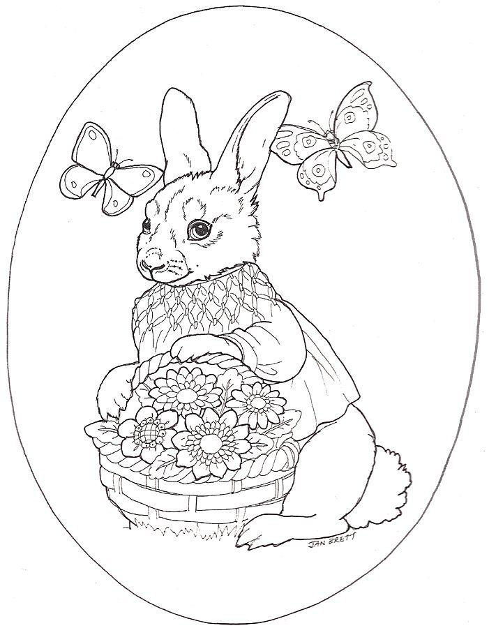 Easter Egg mural girl bunny egg | Easter color pages | Pinterest ...