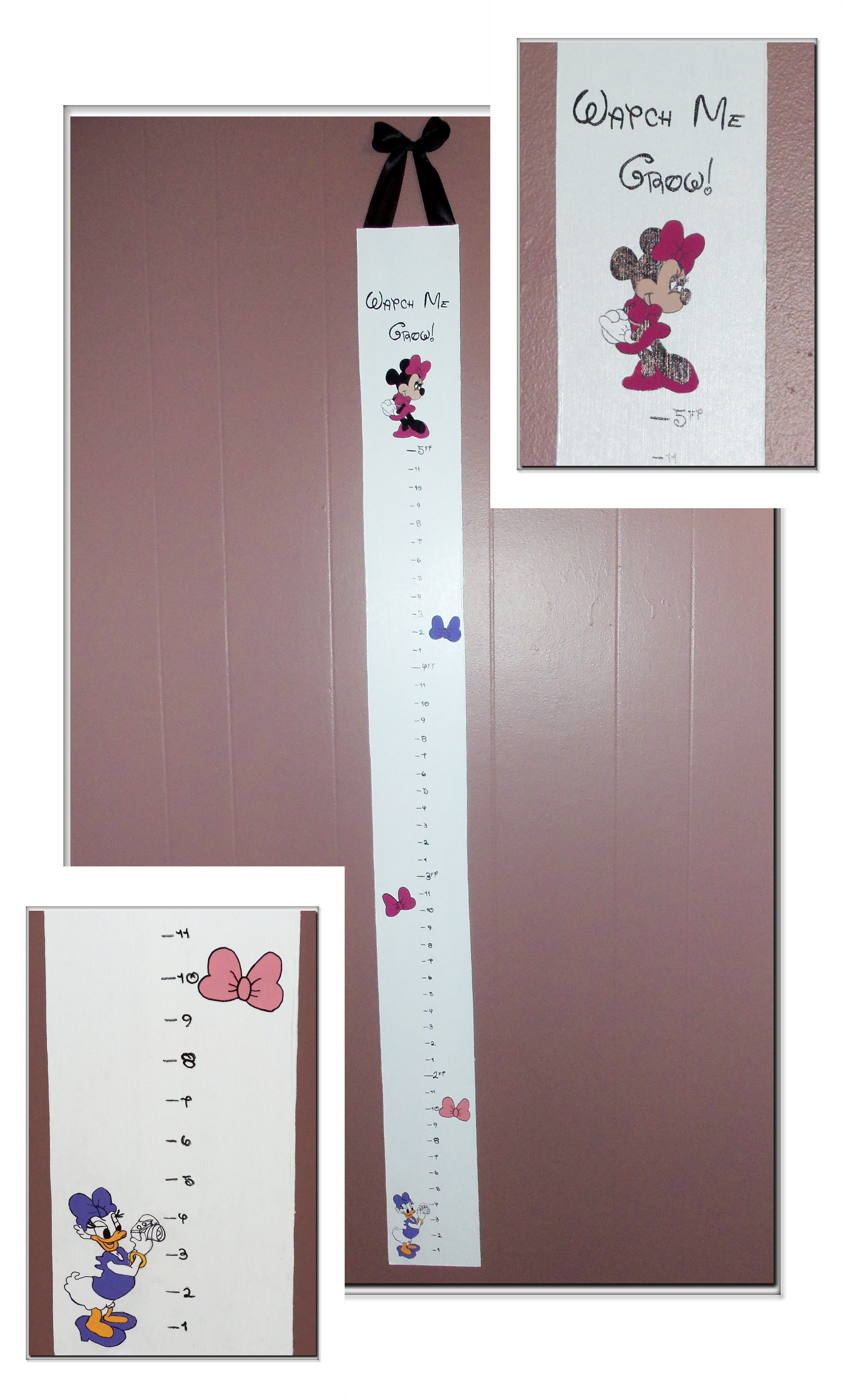 Growth Chart I Handmade Myself For My Boo Boo Minnie S Bow Tique Themed We Love Minnie Mouse In This House Hol Growth Chart Girls Height Chart Height Chart