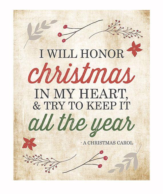 A Christmas Carol Quotes: Christmas Typography Print, I Will Honor Christmas Charles