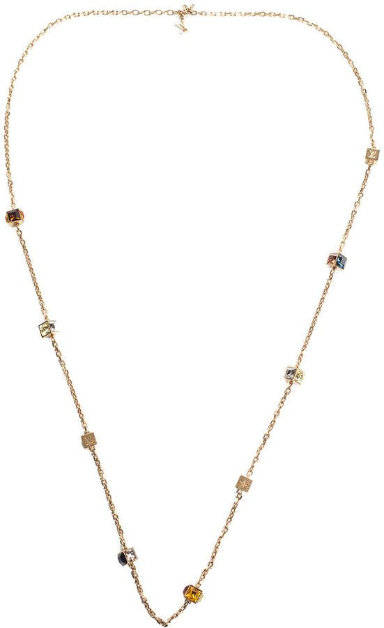 accf9b7b79af Louis Vuitton Gold-Tone Multicolored Crystal Monogram Gamble Station  Necklace